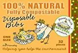 Broody Chick Disposable Bibs (100% Natural / Fully Compostable, 32 Pieces, One Size)