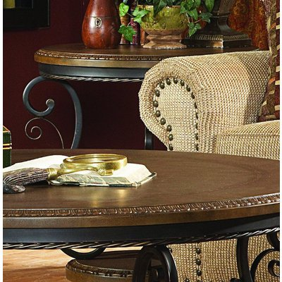 Image of Homelegance Harman Heights Round End Table w/ Metal Base (5552-04)
