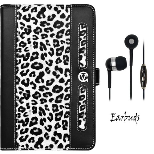 White Leopard Vangoddy Dauphine Lightweight, Durable Portfolio Jacket Cover Case For Samsung Galaxy Tab 2 7-Inch Student Edition + Crystal Clear High Quality Hd Noise Filter Ear Buds Earphones Headphones With Mic ( 3.5Mm Jack )