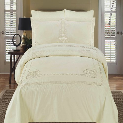 Ideal Athena Ivory Embroidered piece King California King Comforter Set Egyptian Cotton