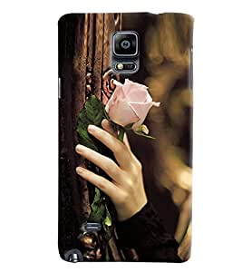 Omnam Girl Carrying Beaurtiful Pink Rose In Hand Printed Designer Back Cover Case For Samsung Galaxy Note 4 N9100