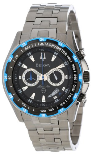 Bulova Men's 98B120 Marine Star Black Dial Bracelet Watch