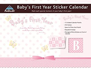"Baby's First Year Undated Wall Calendar with Stickers to Mark ""Firsts"" - Pink"