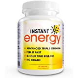 Instant Energy COMPLETE Natural Energy Supplement Formula MAXIMUM Strength blend of Vitamin B-1, Vitamin B-2, Vitamin B-3, Vitamin B-6, Tongkat Ali, Folic Acid, Magnesium, Vitamin B-12, Biotin, Pantothenic Acid, L-Taurine, Acai, Caffeine, Spirulina Algae, Korean Ginseng, Rhodiola Rosea, American Ginseng, and Maca.