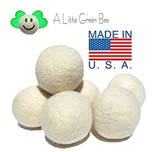 6 Eco-Friendly Wool Dryer Balls -Set of Six 100% Handmade, Natural and Unscented