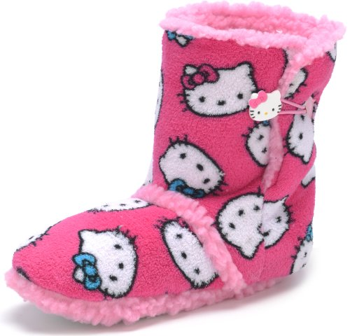 Licensed Hello Kitty Women's Plush Bootie Slippers Pink, Size: M(7-8), Color: Pink
