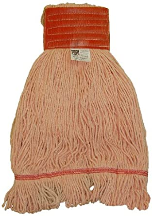 "Zephyr HC/Blend Orange 4-Ply Yarn  Health Care Loop Mop Head with 5"" Mesh Wide Band (Pack of 12)"