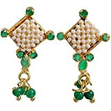 Maayra Dashing Green Jaal Puwai Sarafa Drop Earrings