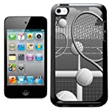 Fancy A Snuggle Black and White Tennis Court With Balls and Rackets Design Hard Back Case Cover for Apple iPod Touch 4th Generation