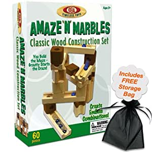 Ideal 60 Piece Amaze N Marbles Classic Wood Construction Set w/Free Storage Bag