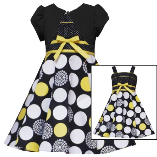 Size-5 RRE-44271E 2-Piece BLACK WHITE YELLOW MIXED DOT PRINT Special Occasion Flower Girl Easter Party Dress/Shrug Set,E744271 Rare Editions Girl 2T-6X