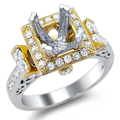 .90Ct Princess Cut Diamond Semi Mount Setting Ring 14K Yellow White Gold