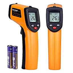 Masione 2 Pieces LCD Temperature Gun Non-contact Digital Laser Infrared IR Thermometer -58°F to 716°F (-50 ~ 380℃) Instant-read Handheld,Battery included