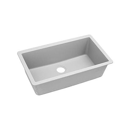 "Elkay ELGRU13322WH0 Granite 33"" x 18.4375"" x 9.4375"" Single Bowl Undermount Kitchen Sink, White"