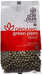 Pure & Sure Organic Green Peas Dried, 500g