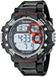 Armitron Sport Men's 40/8309RED Grey Cased Digital Chronograph Black Resin Strap Watch
