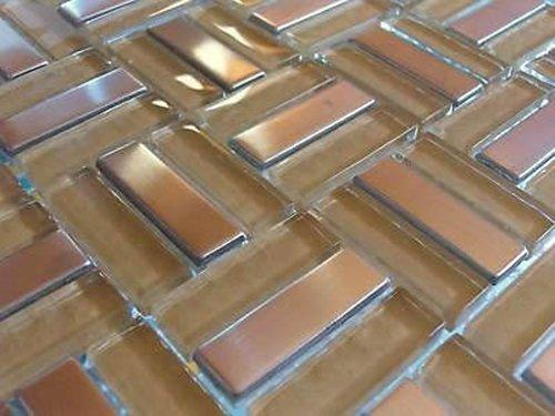 FLIESENTOPSHOP Glasmosaik Edelstahlmosaik Fliesen Mosaik Metallmosaik6 Edelstahl 8mm top