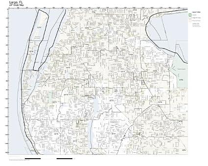 Largo Florida Zip Code Map Zip Code Wall Map of Largo fl