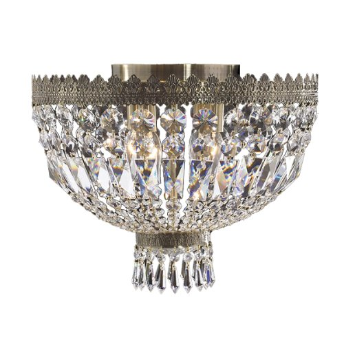 Worldwide Lighting W33085B16 Metropolitan 4 Light with Clear Crystal Ceiling Light, Antique Bronze Finish