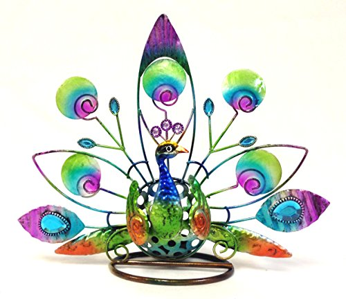 Peacock Stain Glass Candle Holder