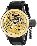 Invicta 17273 Men's Russian Diver Steel & Rubber Strap Skeleton Gold Tone Dial Watch