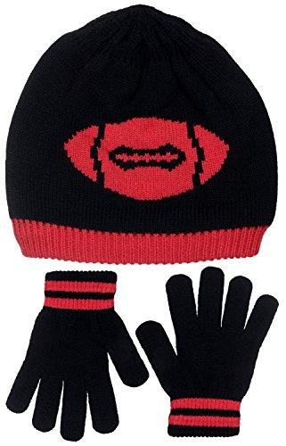 [Polar Wear Boy's Football Knit Beanie & Gloves Set (Black-Red)] (Infant Racing Halloween Costume)