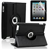DN-Technology New Apple iPad 4, iPad 3, iPad 2  Black 360 PU Leather Case / Cover /Wallet and 360 Degree Rotating Stand For New Apple iPad 4th Generation (With Retina Display), iPad 3  iPad 2