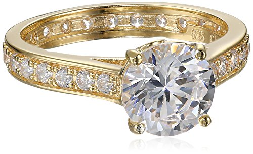 18K Yellow Gold Plated Sterling Silver Cubic Zirconia Solitaire Ring, Size 7