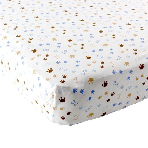 Luvable Friends Puppy Fitted Crib Sheet, Blue/Brown