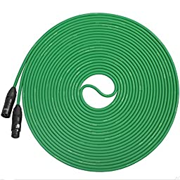 LyxPro Balanced XLR Cable 50 ft Premium Series Professional Microphone Cable, Powered Speakers and Other Pro Devices Cable, Green