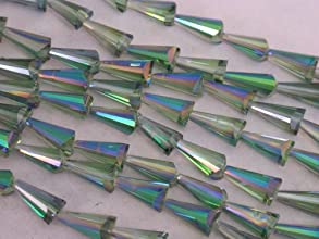 Glass Crystal Beads 26pcs Green Ab Color Cone Shape Facted 8x16mm