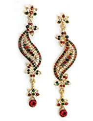 Bindhani Gold Plated With Marron And Green Crystral Stones Dangler & Drop Ethnic Fashion Earrings For Women