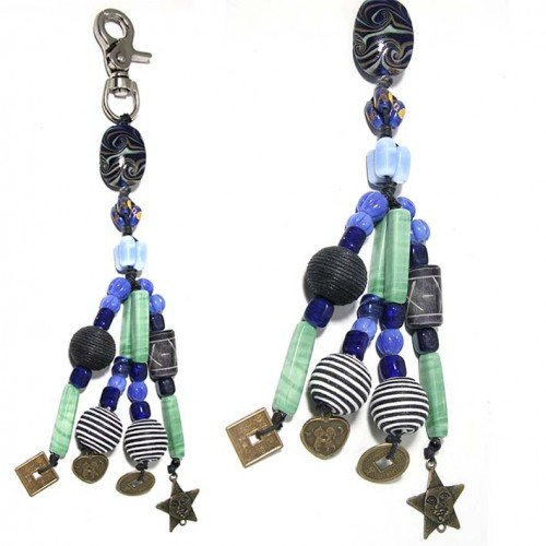 SG Paris Key Holder Glass Beads Blue Multicouleur Other Fashion Accessories Key Chain Glass Bargains Women Zother Basic Fashion Jewelry / Hair Accessories Star