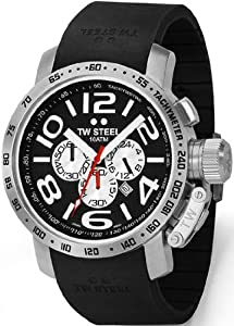 Large Steel Black Dial Strap Chrongraph