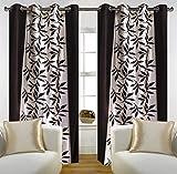 Galaxy Decorations Set of 2 Curtains Kolaweri Eyelet Type Door - 4x7 Ft Brown