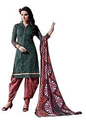 Black Color chanderi Embroidered Churidar Salwar Suit Unstitched Dress Materials