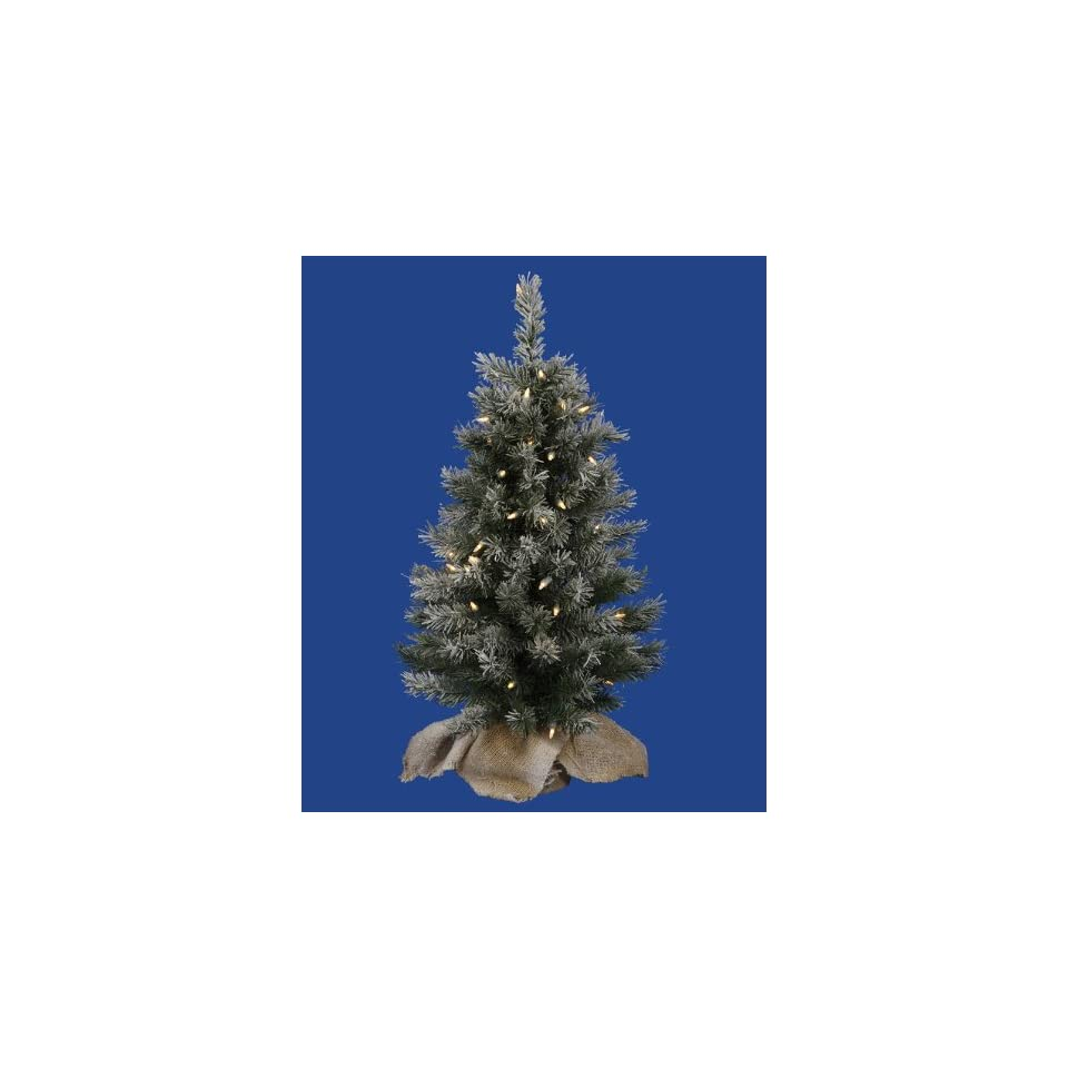 2.5 Pre Lit Flocked Jackson Pine Christmas Tree in Burlap Sack   Clear Lights