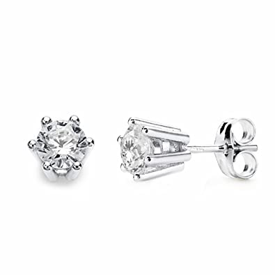 18k white gold earrings zircon 6.5mm claws [AA2158]
