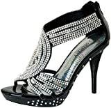 Fabulous Women's Delicacy-07 Platform Sandals, Black Pu, 8