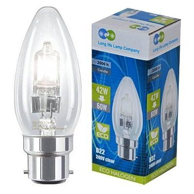 Long Life Lamp Company Candles B22 42 Watt Halogen Eco Energy Saving Bulb Pack of 10