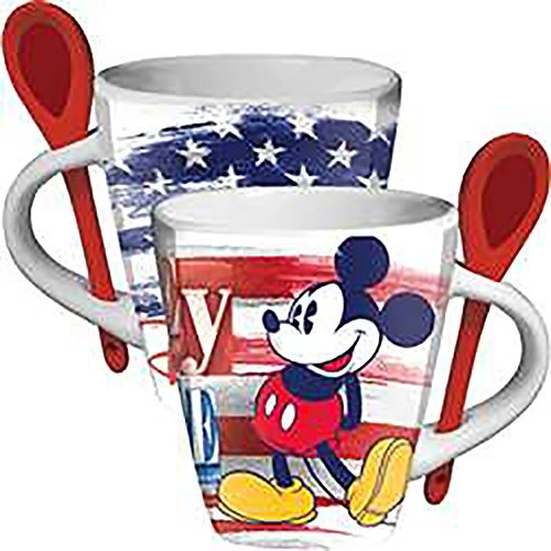 Disney Classic Mickey Mouse STARS & STRIPES Ceramic Coffee Beverage Mug and Spoon Set (Avengers Coffee Mug Set compare prices)