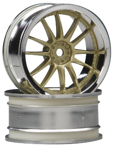 HPI Racing 3297 Work XSA 02C Wheel with 3mm Offset (Set of 2), 26mm, Chrome/Gold - 1