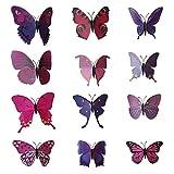 AUBIG 3D Schmetterling Wandaufkleber Wandtattoo Wanddeko Wanddekoration Wandsticker Zimmerschmuck mit Sicherheitsnadel -