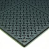 """Wearwell Natural Rubber 788 Modular Diamond-Plate Conductive ESD Mat, for Electronic and High-Voltage Apparatus , 3' Width x 3' Length x 1/2"""" Thickness, Black"""