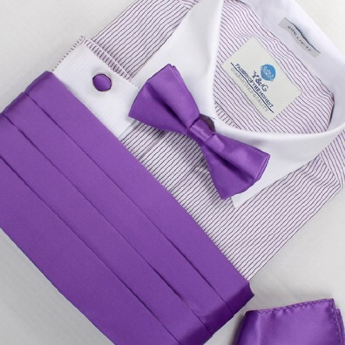 Indigo Silk pre-tied Bow Tie For mens Handkerchiefs Cufflinks and cummerbund Set With Gift Box CM1008