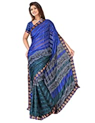 Sehgall Sarees Indian Bollywood Designer Professional Ethnic Alpheno Print With Lace Border Color Blue