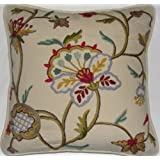 Crewel Pillow Miranda Light Multicolor On Cream Cotton (20X20)