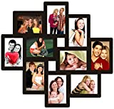 Trendzy Wooden 10-in-1 Collage Wall Photo Frame (55 cm x 1.1 cm x 58.3 cm, Black)