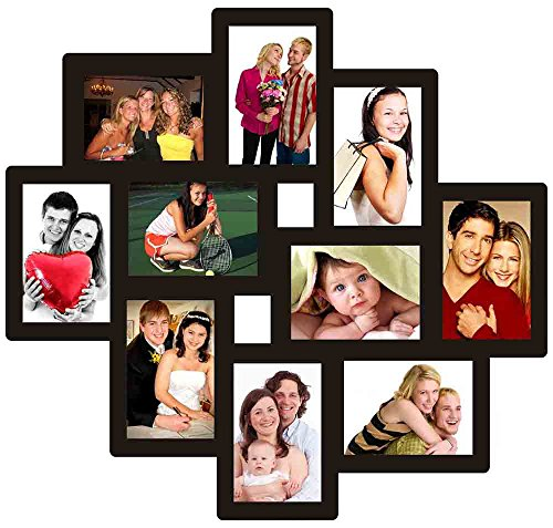 Trendzy Wooden 10-in-1 Collage Wall Photo Frame (55 cm x 1.1 cm x 58.3 cm, Black)
