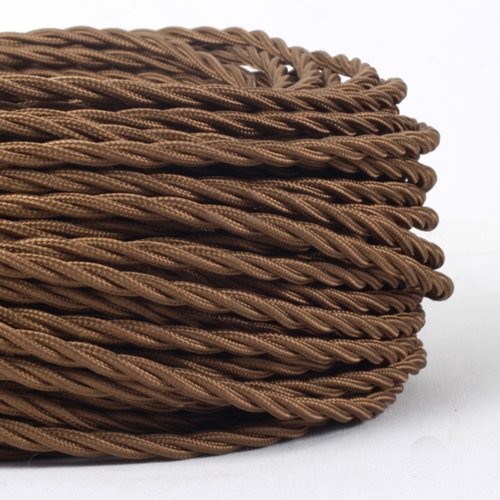 (MLCA007) 3 Core Brown - ANTIQUE BRAIDED TWISTED WOVEN SILK FABRIC LAMP FLEXIBLE CABLE WIRE CORD LIGHT